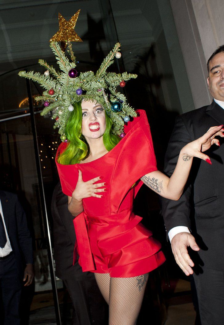 Pin for Later: 26 Things That Lady Gaga Totally Looked Like Charlie Brown's Christmas  Tree - Charlie Brown's Christmas Tree All Things Celebrity Pinterest