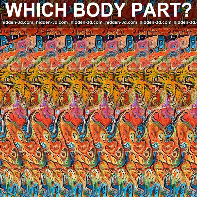 Stereogram by 3Dimka: Guess the part of body. Tags: ear ...