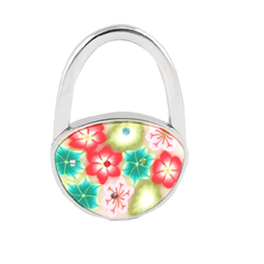 Folding Purse Hooks For Tables   Foldable Multicolor Flowers Detail Padlock Handbag  Purse Table Hook W2