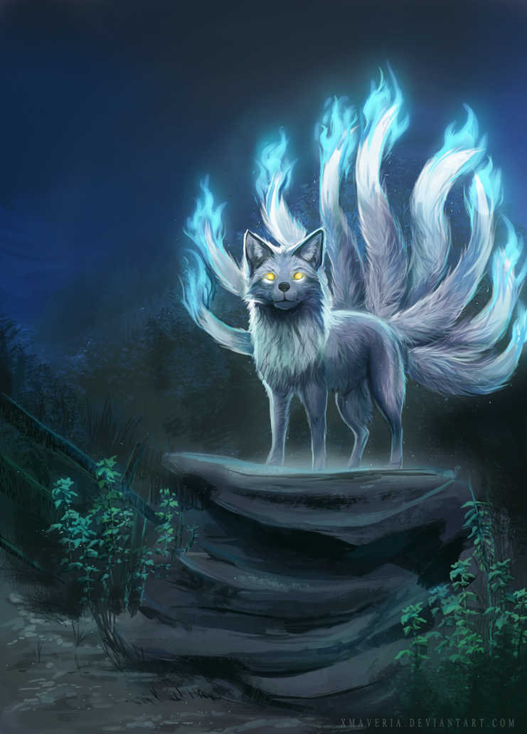 Kitsune by XMaveria Cute fantasy creatures, Mythical
