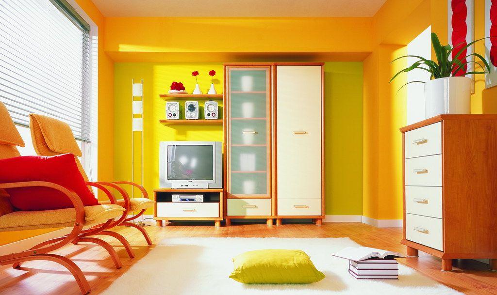 yellow wall lounge  modern living room paint living room