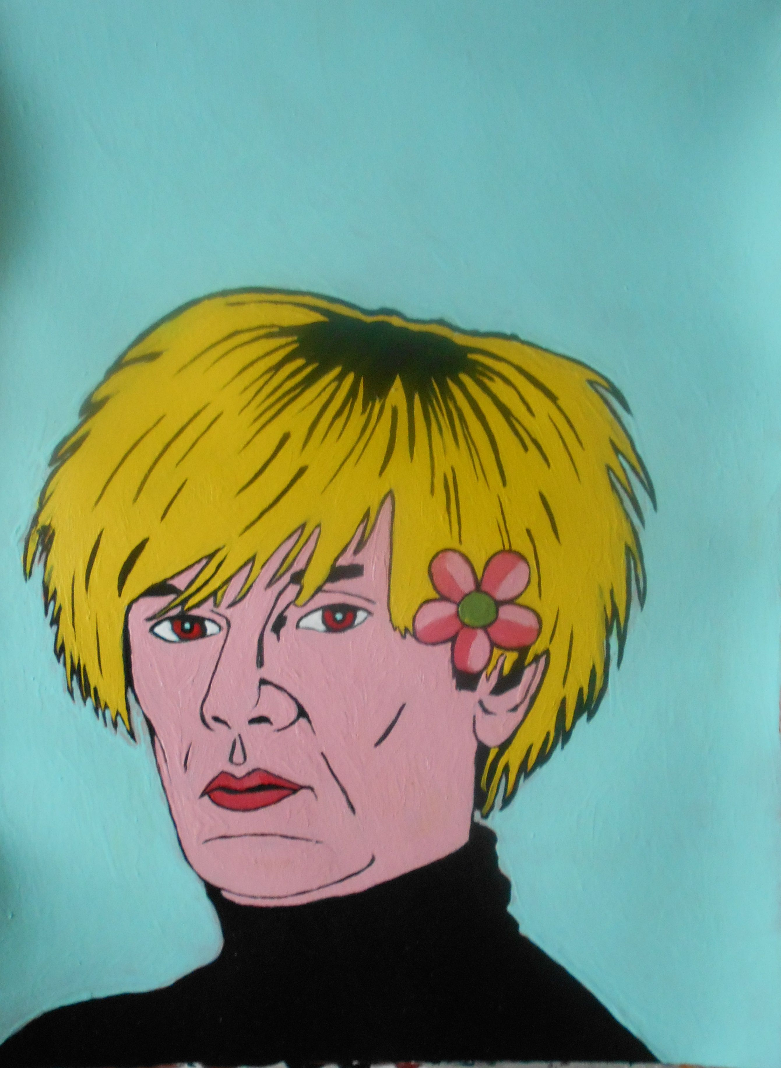 Andy Warhol With Fower In His Hair Wig
