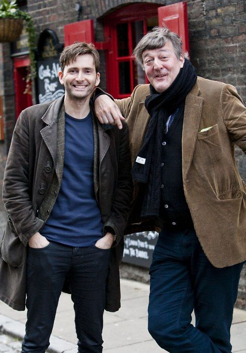 David Tennant & Stephen Fry. Hmm. Fry might be a good Doctor!