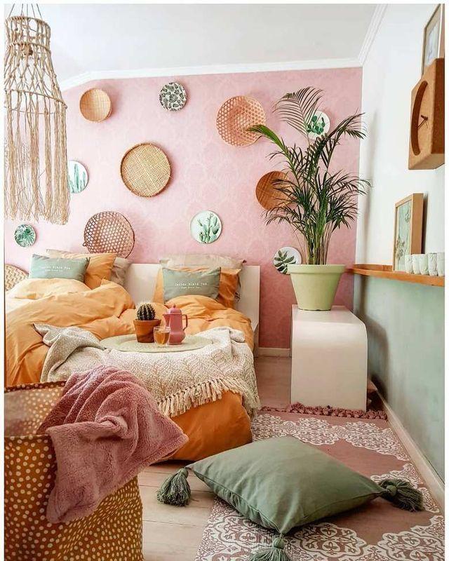 Schlafzimmer Wandfarbe Schlafzimmer Dekorieren: Colorful Boho Bedroom