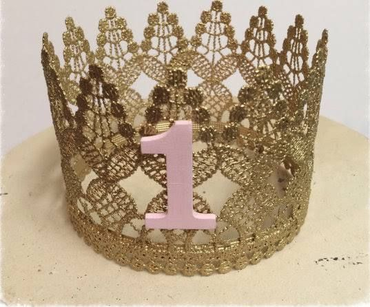 pink and gold crown for baby 1st birthday