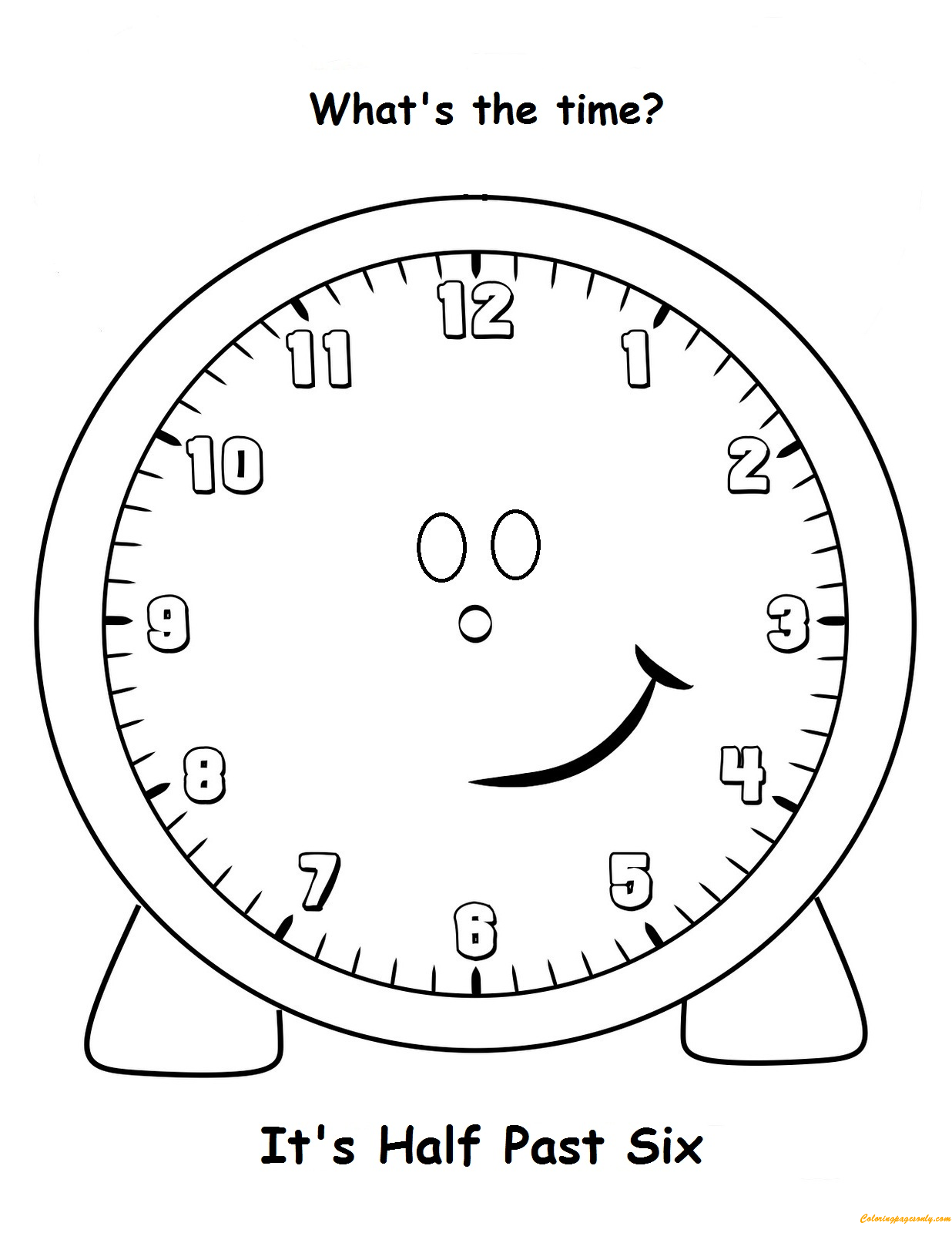 Pin By Coloring Pages On Clock Coloring Pages