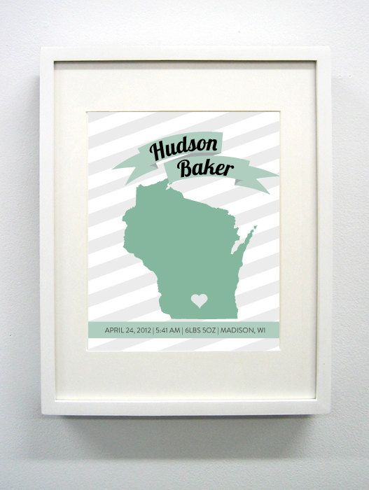 Custom Wisconsin Birth Announcement 8x10 Glic e by PaintedPost – Madison Wi Birth Announcements