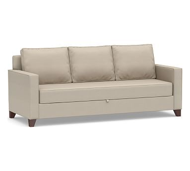 Cameron Square Arm Upholstered Pull Up Platform Sleeper Sofa Polyester Wred Cushions Organic Cotton Basketweave Stone