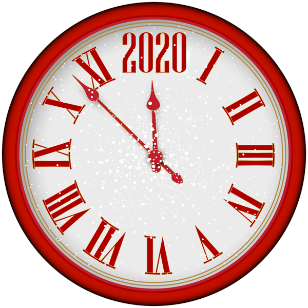 2020 New Year Red Clock PNG Clip Art | Kerst