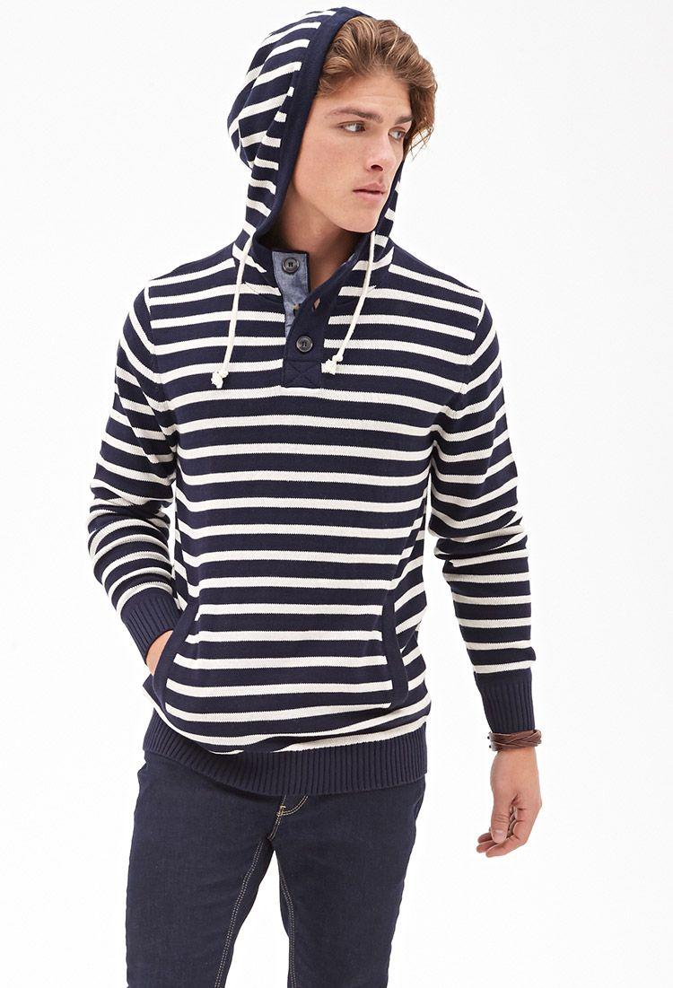 Nautical Striped Hoodie - MEN - 2000083530 - Forever 21 UK ...