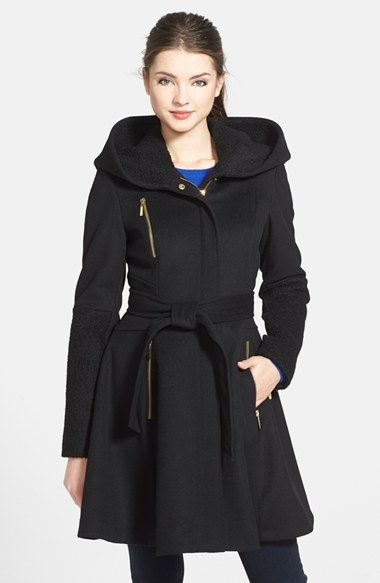 Laundry By Shelli Segal Boiled Wool Blend Fit Flare Coat Coat