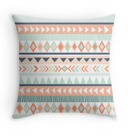 Mint & Coral Tribal Pillow Cover