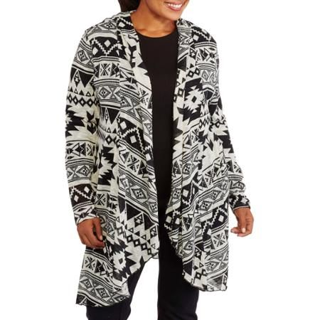 Womens Plus Size Printed Waterfall Duster Cardigan Walmartcom