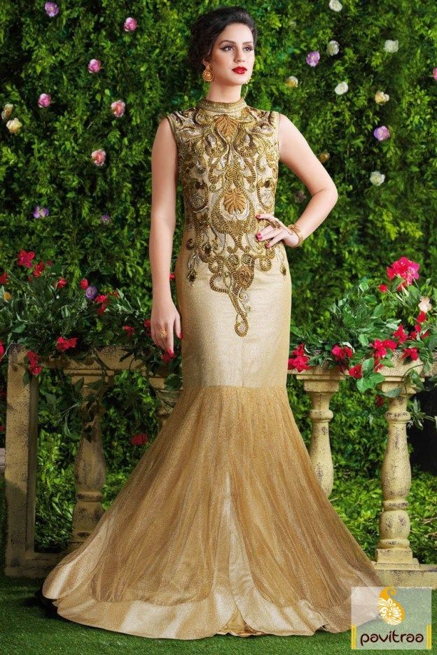 Stunningly fabulous and remarkable beige santoon chiffon and net ...