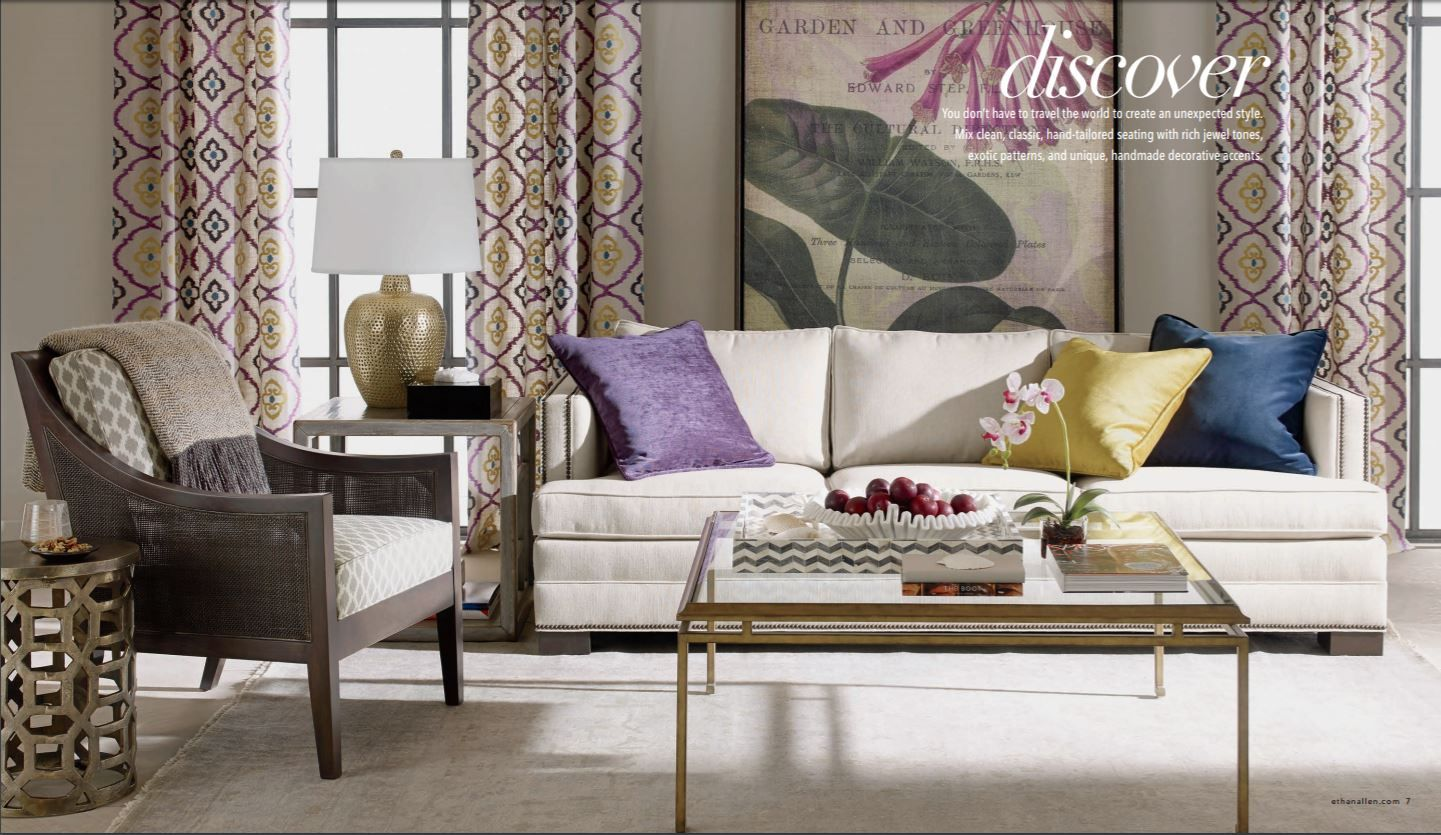 Living room with ethan allen furniture and decor ethan allen