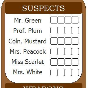 Versatile image with clue sheets printable