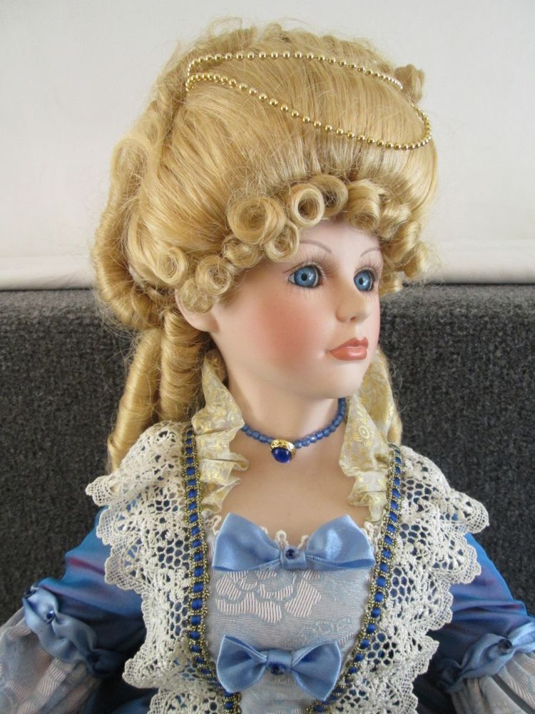 "Court Of Dolls 29"" Porcelain Victorian Style Doll Blue Dress Lavenda 9603"
