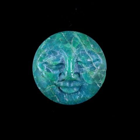 Peruvian Chrysocolla Quartz Moon Face Pendant Focal Bead - From the Heart of the Andes by http://soul2shine.com