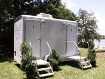 Two Stall Portable Restroom Trailers Wedding Bathroom Outdoor
