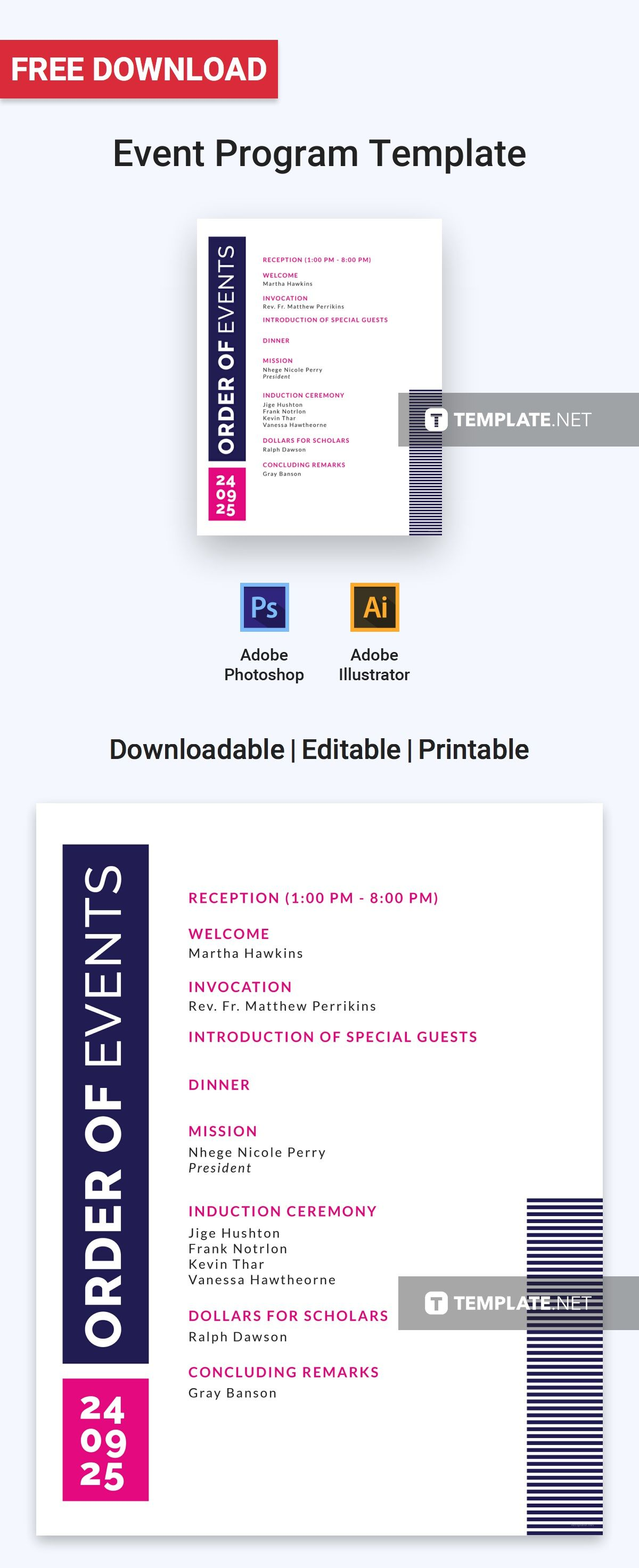 Event Program Invitation Template Word Psd Apple Pages Illustrator Publisher Outlook Event Program Free Program Templates Program Template