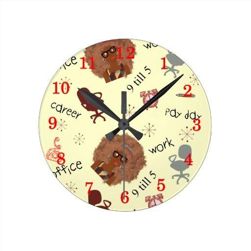 Office Work 9 Till 5 Modern Fun Pattern Clock Office Wall Clock Wall Clock