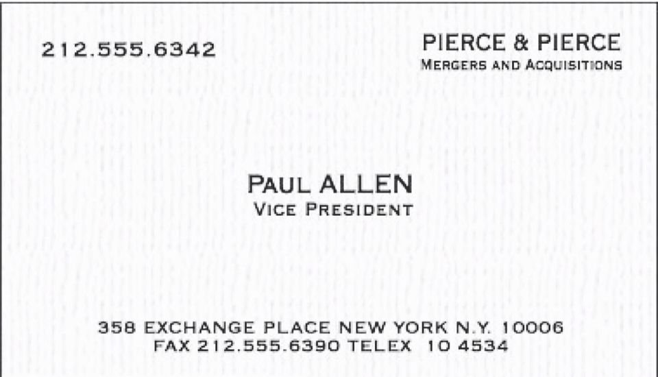 Amazing paul allen business card images business card ideas paul allens card is s better then batemans even fbccfo Gallery