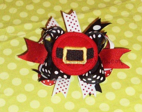 Santa Circle Hair Bow Center-Feltie, Felt, Santa, Bow Center