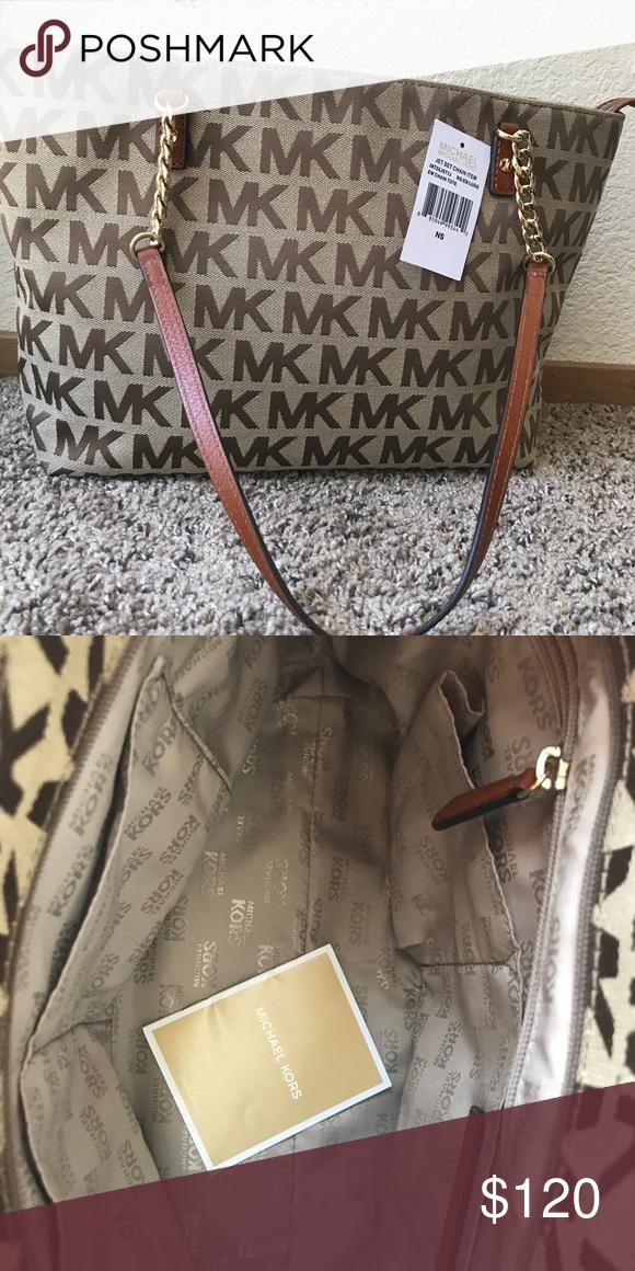 0284ac82029687 Michael Kors Bag Michael Kors 38T2XJST7J Jet Set Chain Item Signature  Jacquard Medium Tote Bag 100