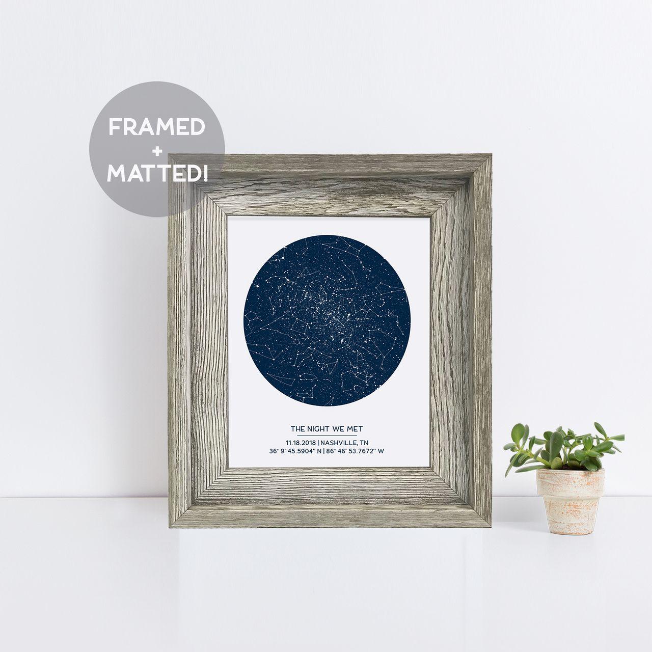 Custom star map wood frame | Star Map Gifts + Night Sky