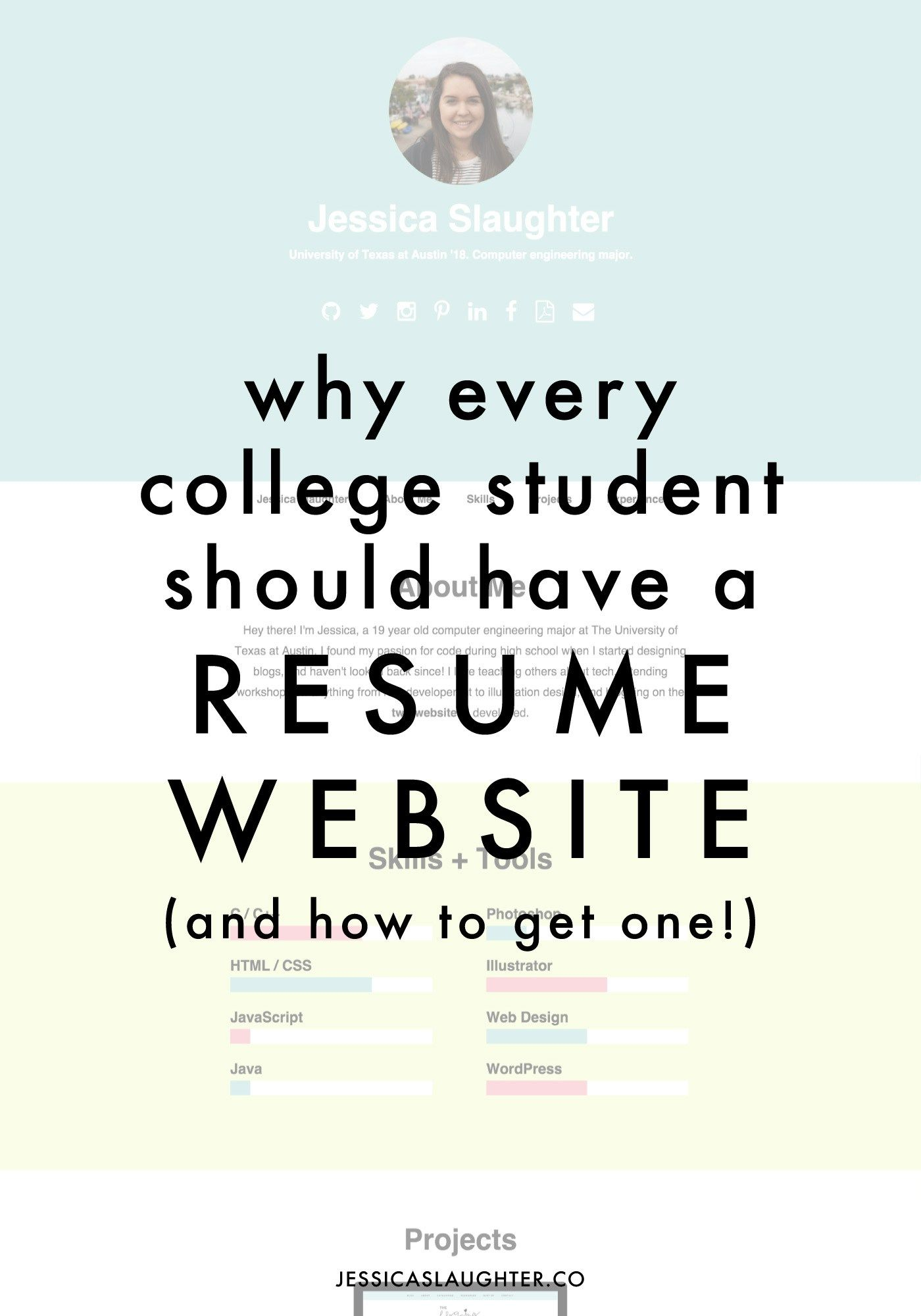 Why Every College Student Should Have A Resume Website | Pinterest ...