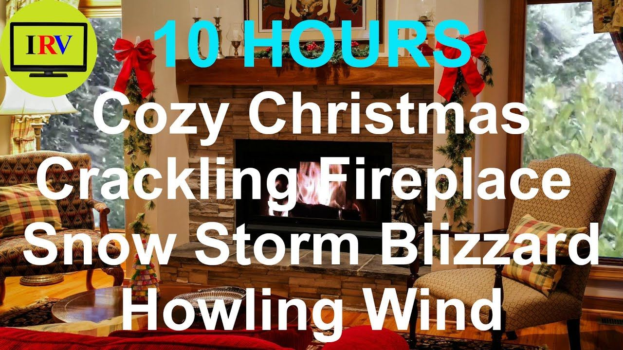 10 Hrs Crackling Fireplace And Howling Wind Snow Storm Blizzard Sounds, Winter Christmas Screensaver