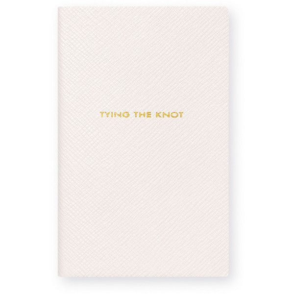 """Smythson Panama """"Tying the Knot"""" Notebook ($84) ❤ liked on Polyvore featuring home, home decor, stationery and white"""