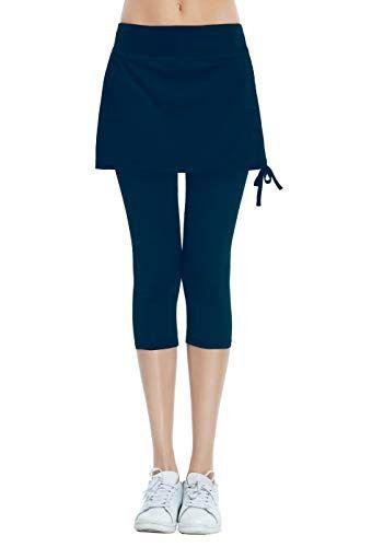 7f228f635a Women's Running Cropped Capri Pants Skirted Sport Leggings Sun Protection  Navy M #fashion #clothing