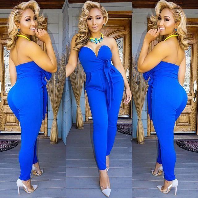High Quality Women Evening Elegant Jumpsuit Women Sexy Strapless Blue Backless Bodycon Jumpsuit Bodysuit Rompers Womens Jumpsuit