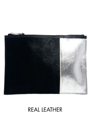 ASOS Leather Clutch Bag In Pony With Leather Panel
