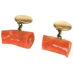 Victorian Coral Branch gold Cuff Links