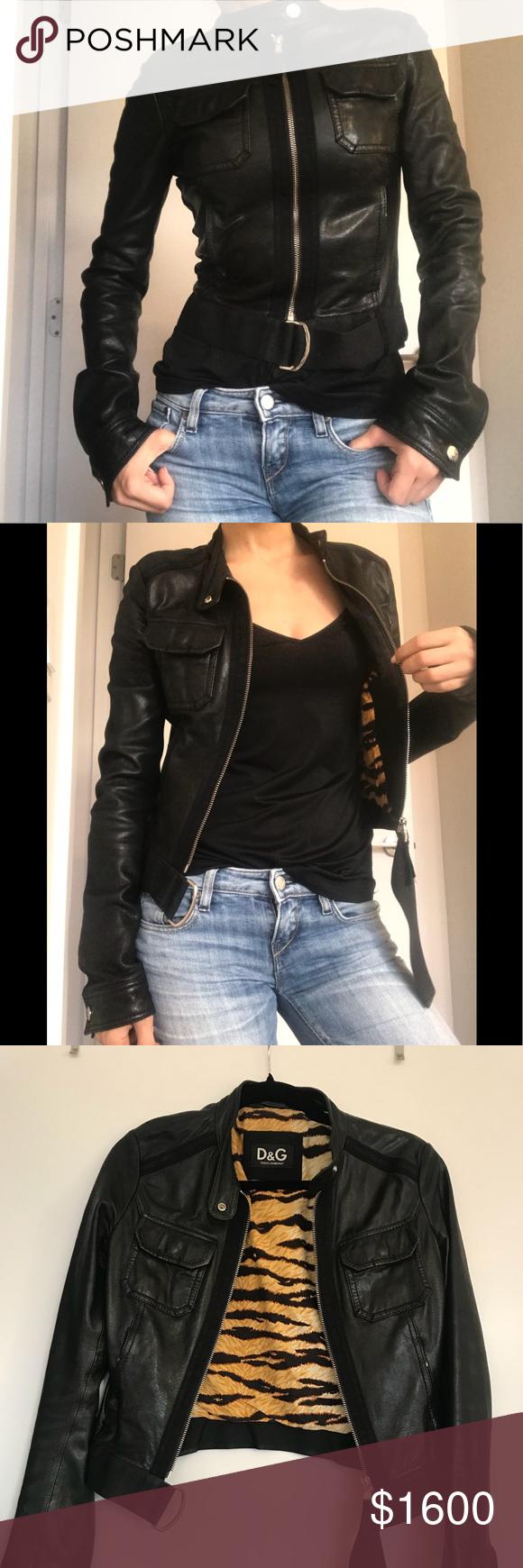 c08fba918 D&G Lambskin Jacket D&G by Dolce & Gabbana black lambskin leather ...