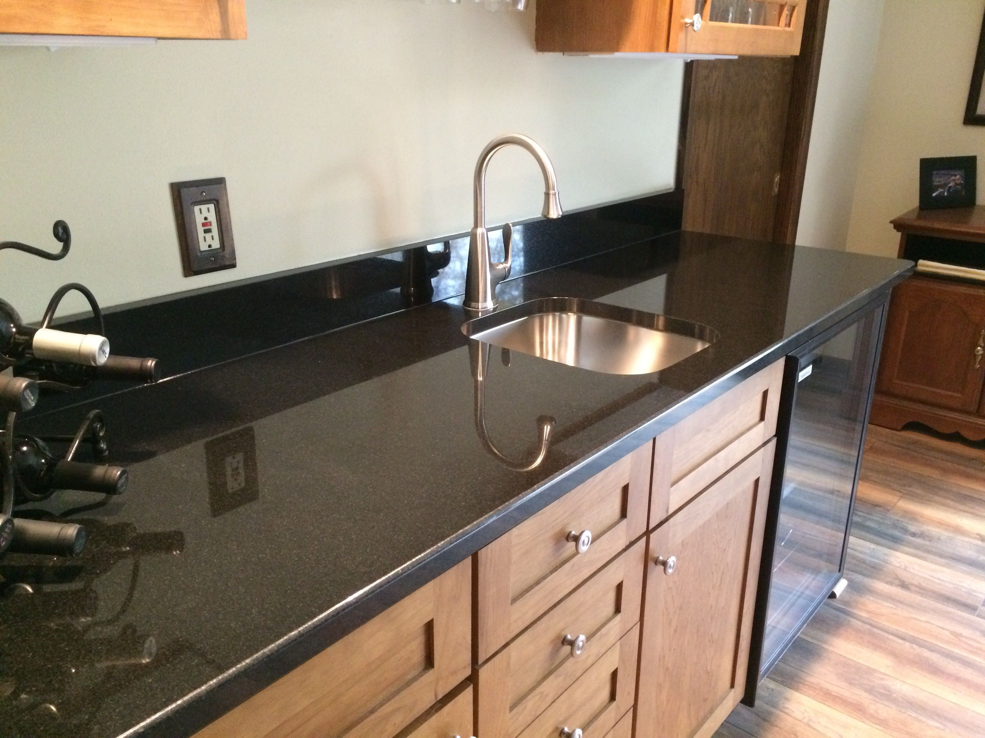 Finished Install Shots Of An Absolute Black Granite Wet Bar