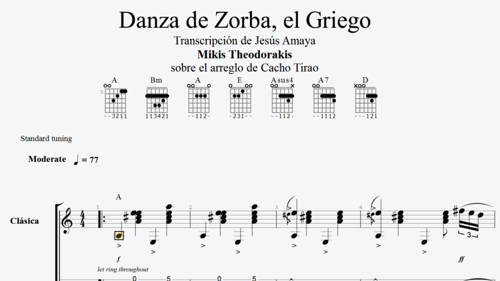 guitare zorba le grec