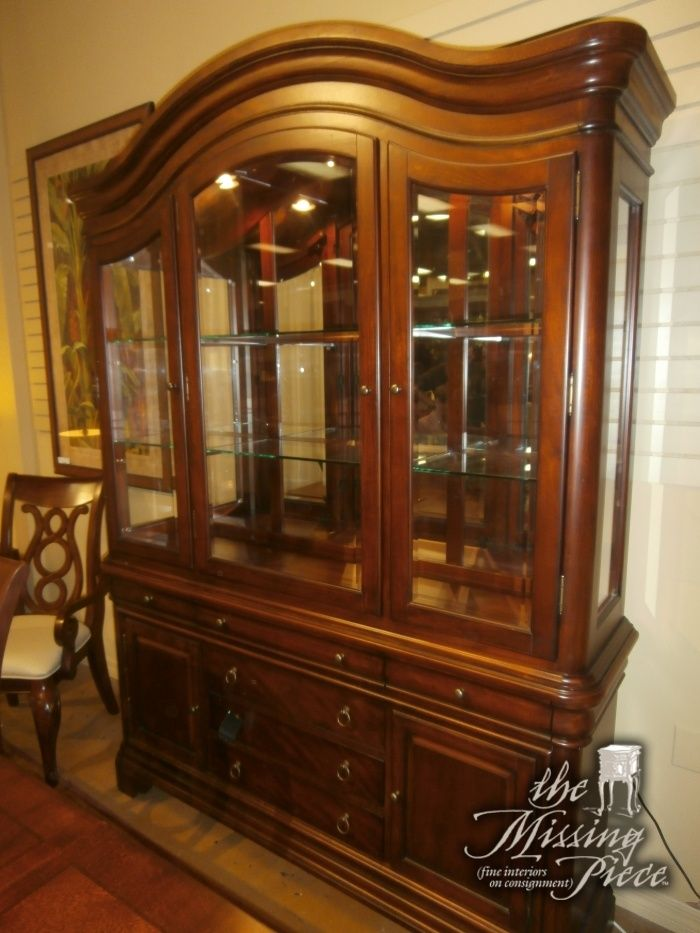 Legacy Classic Two Piece Lighted China Cabinet With Glass Shelving Measures Matching Dining Table As Well Console Available At Time Of Posting