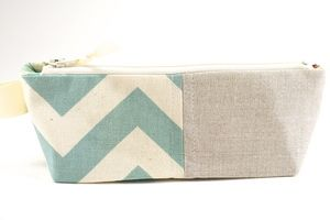 Sunglass Pouch or Pencil Pouch in Natural Linen and Chevron