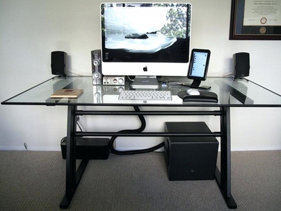 Glass Desk Cable Management Desk Wall Art Ideas