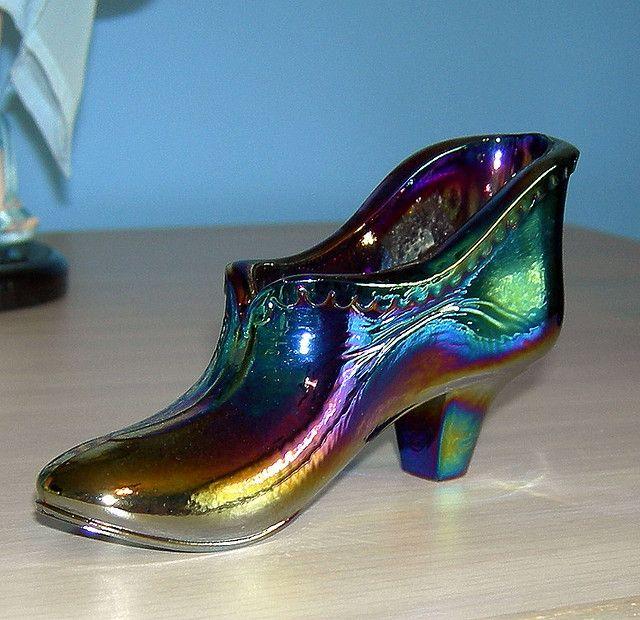 Fenton Shoe Blue Carnival Glass I Don T Have This One Blue Carnival Glass Glass Shoes Carnival Glass