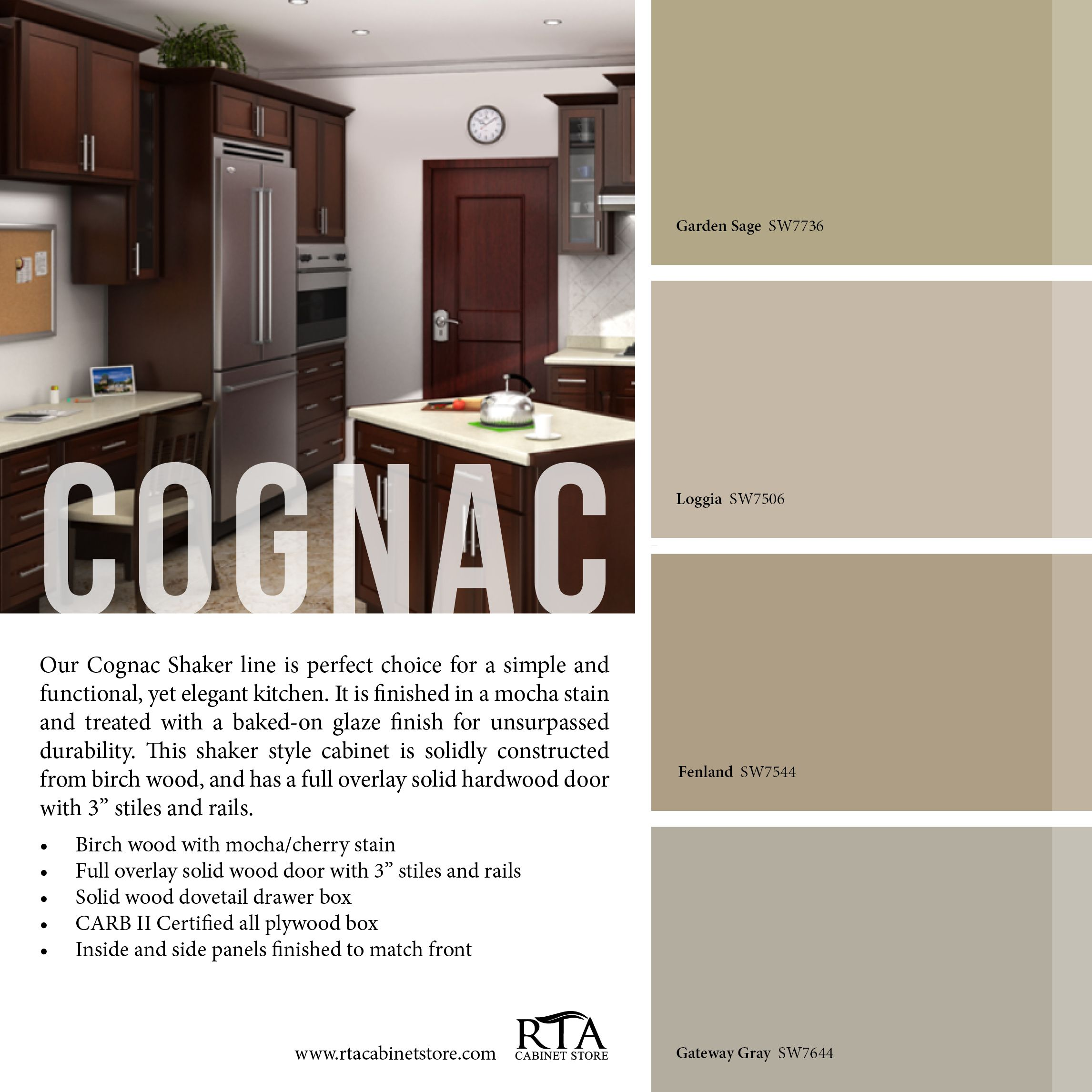 Color palette to go with our cognac shaker kitchen cabinet for Kitchen colour palette ideas