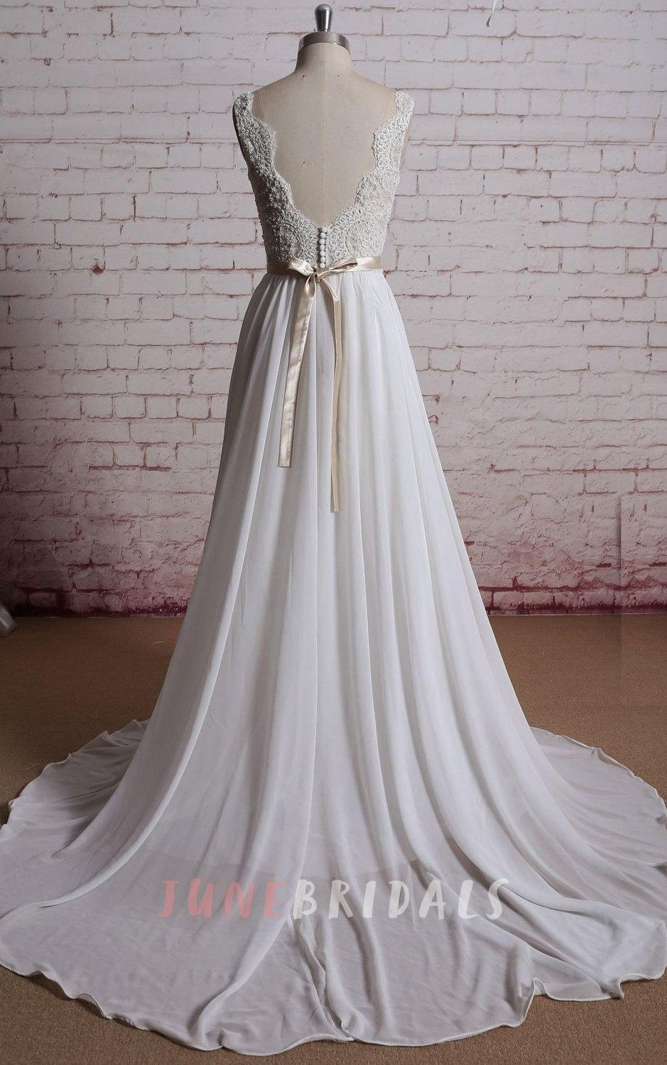 Champagne and ivory wedding dress  VNeck Long Chiffon Bridal Gown With Champagne Lining of the Bodice