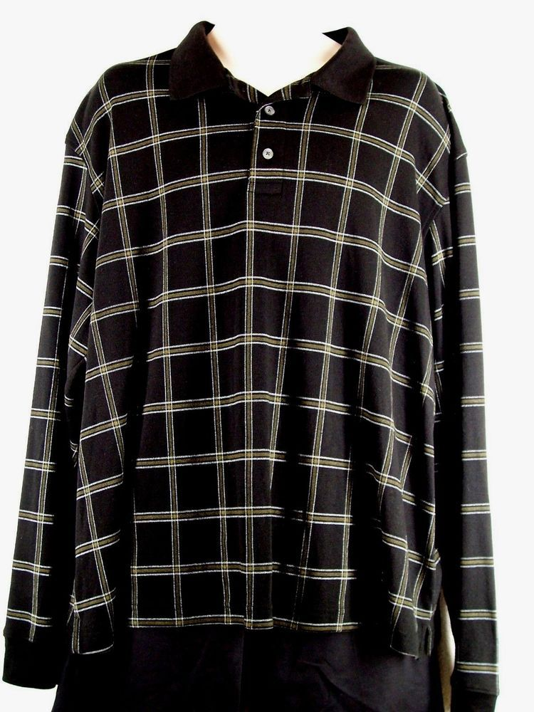 George 2XL Mens Long Sleeve Black Plaid Polo Shirt Size(50-52) EUC #George #PoloRugby