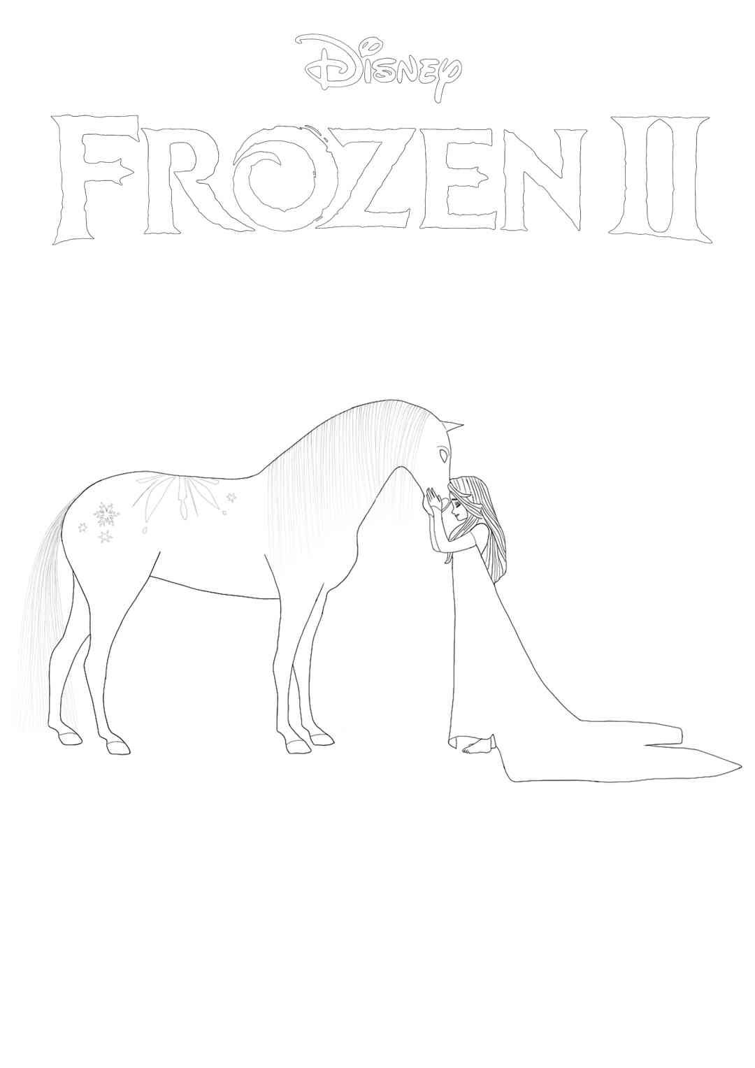 Free Frozen 14 - Elsa and Nokk coloring page. Print or download