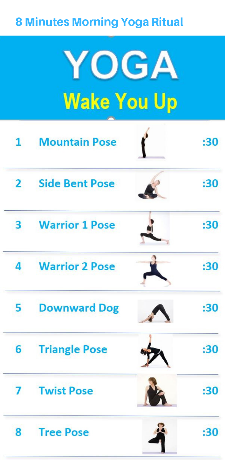 The 8 Minutes Morning Yoga Exercises Are Easy To Follow And Gently Wake You Up To Seize Your Day Video T Morning Yoga Poses Morning Yoga Morning Yoga Workouts