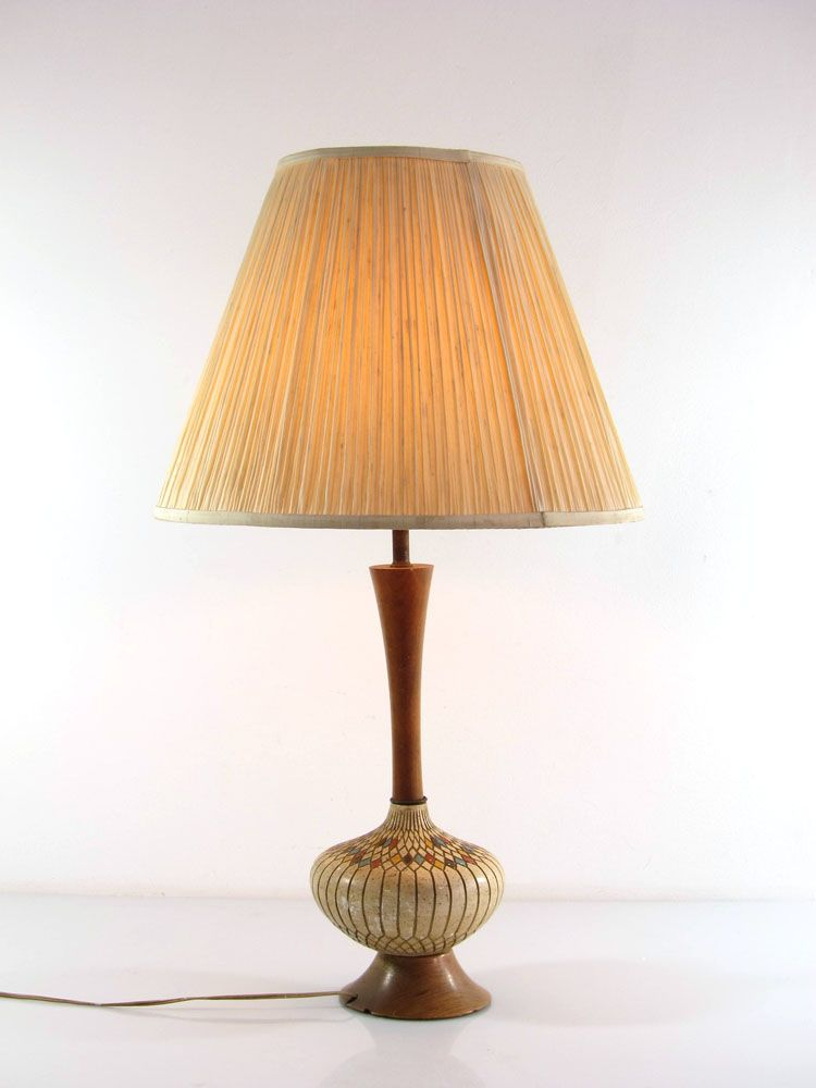 Fifties Table Lamp Large Vintage Plaster And Wood Retro Tafellamp Vintage Tafellampen Hout