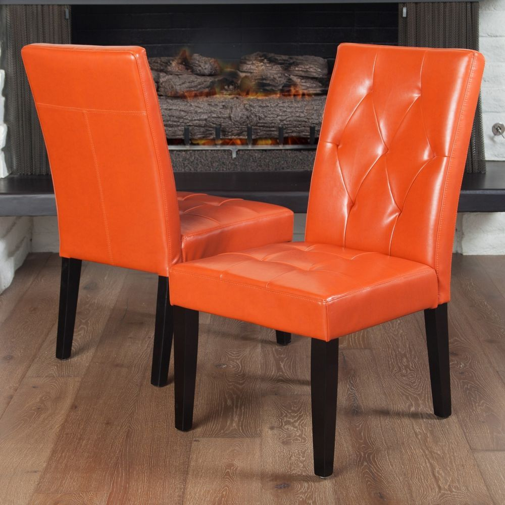 Enjoyable Set Of 2 Contemporary Orange Leather Dining Chair W Tufted Camellatalisay Diy Chair Ideas Camellatalisaycom